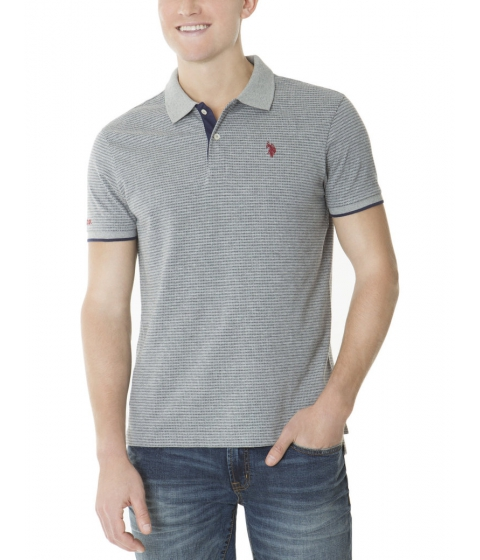 Imbracaminte Barbati US Polo Assn SLIM FIT YARN DYED JACQUARD POLO SHIRT Heather Gray