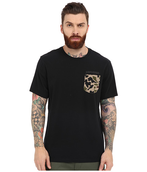 Imbracaminte Barbati Converse Short Sleeve Camo Pocket Tee Black