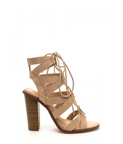 Incaltaminte Femei CheapChic Born To V Lace-up Heels Nude