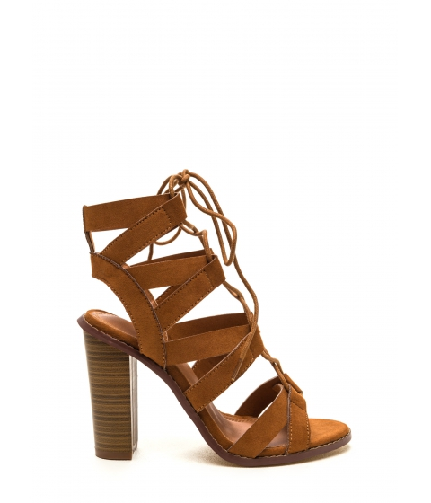 Incaltaminte Femei CheapChic Born To V Lace-up Heels Tan