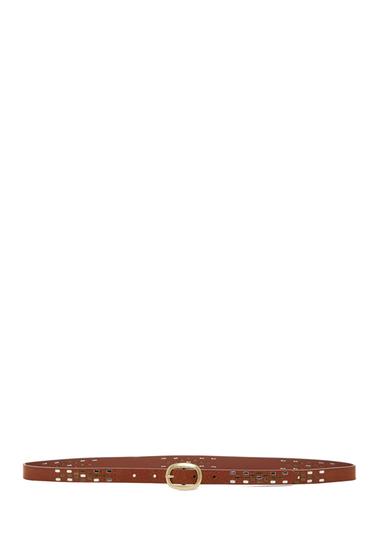 Accesorii Femei Linea Pelle Metal Studded Skinny Belt LUGGAGE