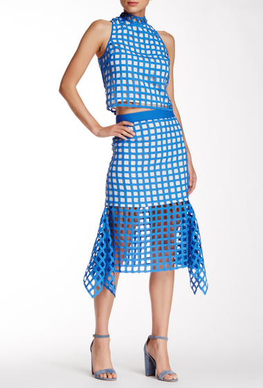 Imbracaminte Femei Champagne Strawberry Cage Trumpet Midi Skirt Blue