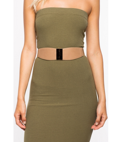 Accesorii Femei CheapChic Metal Bar Accent Stretch Belt TaupeKhaki