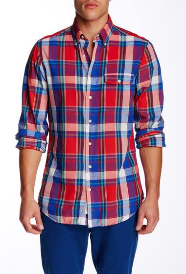 Imbracaminte Barbati Gant Rugger L Sunset Madras Check Long Sleeve Fitted Shirt BRIGHT RED
