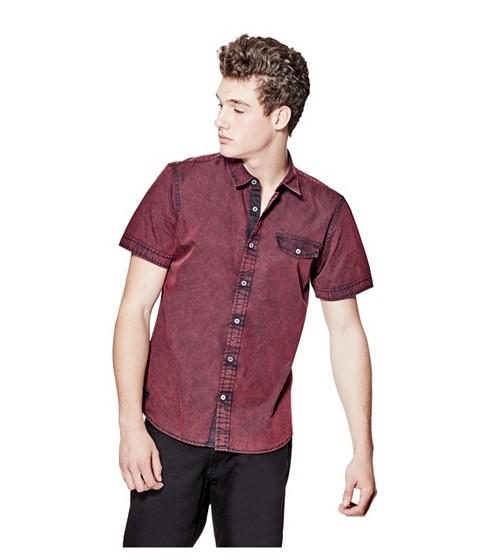 Imbracaminte Barbati GUESS Volund Pigment-Dyed Slim-Fit Poplin Shirt red hot