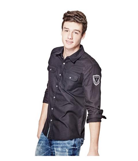 Imbracaminte Barbati GUESS Nowell Slim-Fit Dobby Shirt jet black