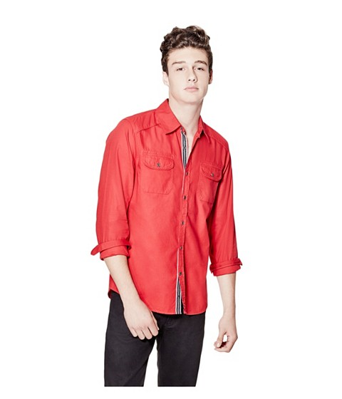 Imbracaminte Barbati GUESS Nowell Slim-Fit Dobby Shirt red hot