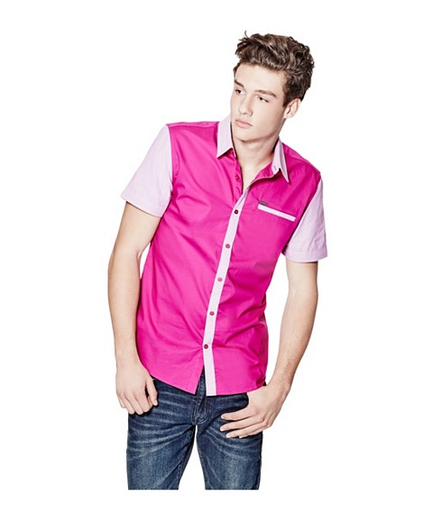 Imbracaminte Barbati GUESS Batillo Slim-Fit Poplin Shirt red rose