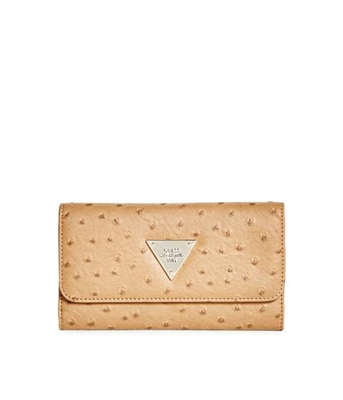 Accesorii Femei GUESS Stanwood Cognac Ostrich-Embossed Wallet cognac