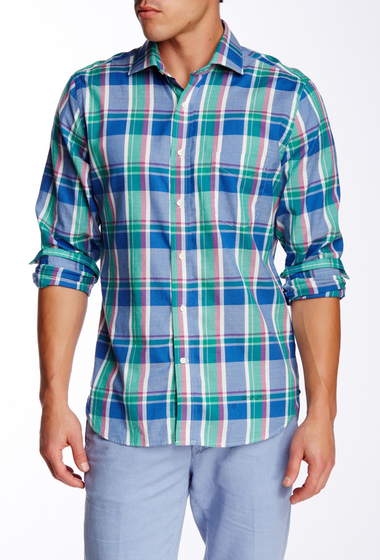 Imbracaminte Barbati Gant Rugger R Windblown Oxford Plaid Long Sleeve Trim Fit Shirt PALACE BLUE