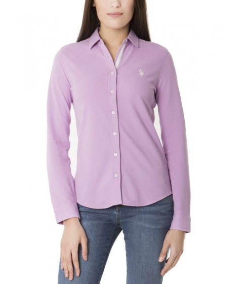 Imbracaminte Femei US Polo Assn Knit Button Up Tee VIOLET TULLE