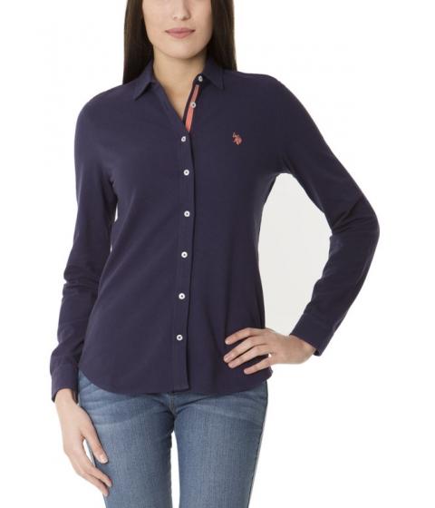 Imbracaminte Femei US Polo Assn Knit Button Up Tee EVENING BLUE