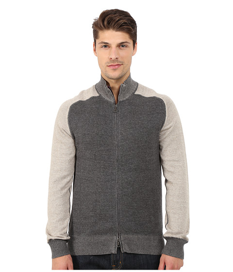Imbracaminte Barbati Agave Denim Long Sleeve Full Zip Mock Neck Color Block Top CharcoalDove