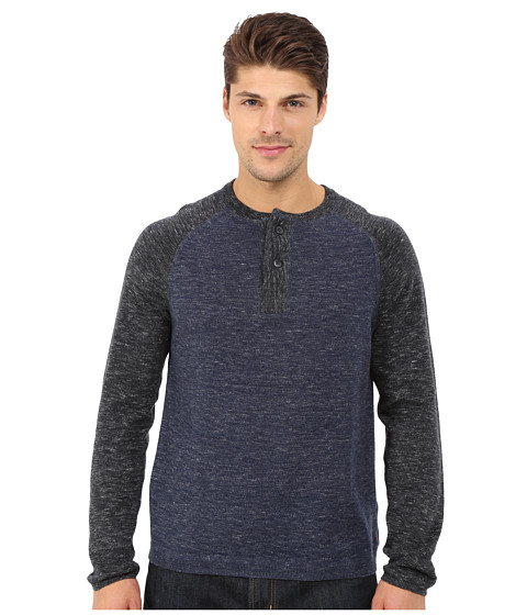 Imbracaminte Barbati Agave Denim Long Sleeve Henley Fine Gauge Color Block Indigo
