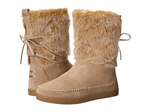 Incaltaminte Femei TOMS Nepal Boot Oxford Tan Suede Faux Hair
