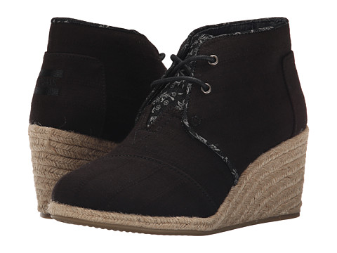 Incaltaminte Femei TOMS Desert Wedge Black Textured Linen