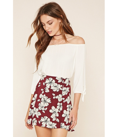 Imbracaminte Femei Forever21 Contemporary Floral Skater Skirt Winewhite