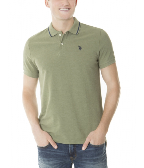 Imbracaminte Barbati US Polo Assn Slim Fit Pique Polo Shirt OLIVE GREEN HEATHER