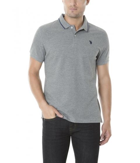 Imbracaminte Barbati US Polo Assn Slim Fit Pique Polo Shirt CAMPUS HEATHER GREY