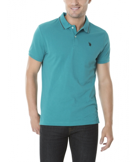Imbracaminte Barbati US Polo Assn Slim Fit Pique Polo Shirt TEAL NIGHT