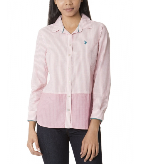 Imbracaminte Femei US Polo Assn Striped Color Block Bottom Shirt CARMINE PINK