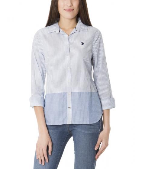 Imbracaminte Femei US Polo Assn Striped Color Block Bottom Shirt PRINCESS BLUE