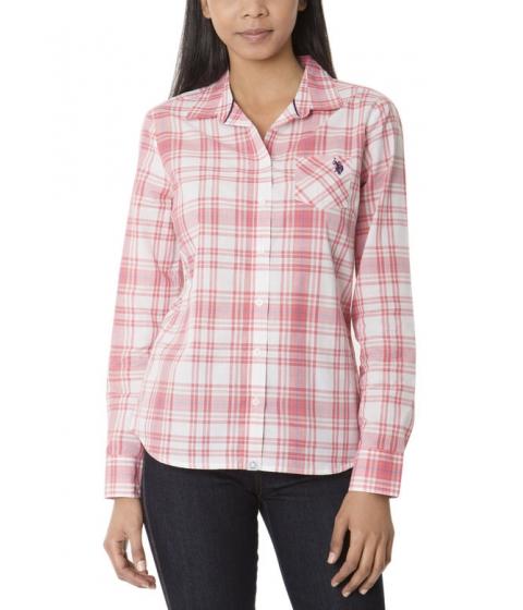 Imbracaminte Femei US Polo Assn Plaid Shirt SUNKIST CORAL