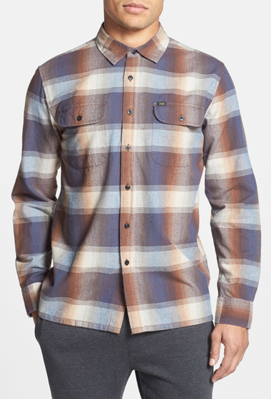 Imbracaminte Barbati Obey Fulton Trim Fit Plaid Flannel Woven Shirt NAVY