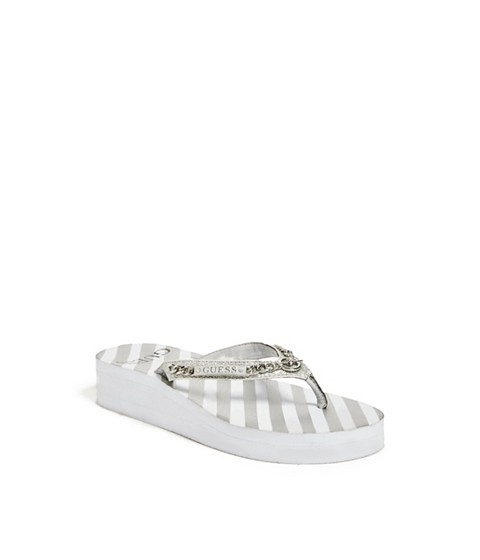 Incaltaminte Femei GUESS Marlow Wedge Flip-Flops white multi