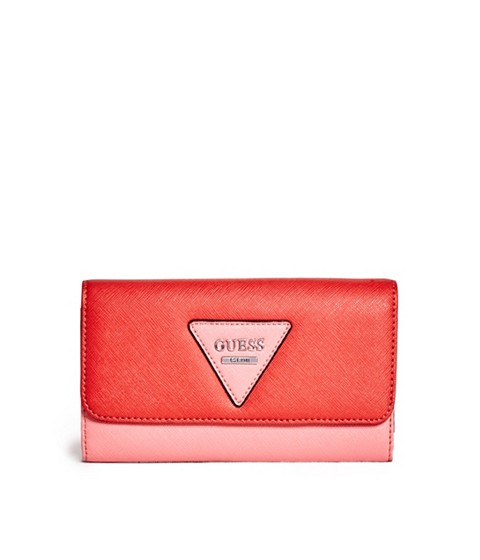 Accesorii Femei GUESS Darcie Color-Blocked Slim Wallet coral multi