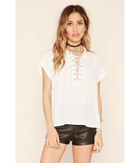 Imbracaminte Femei Forever21 Collared Lace-Up Top Ivory