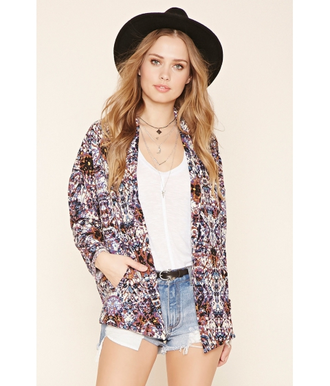 Imbracaminte Femei Forever21 Abstract Print Crepe Blazer Purpleblue