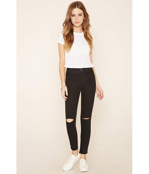 Imbracaminte Femei Forever21 Ripped Knee Skinny Jeans Black