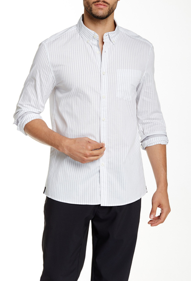 Imbracaminte Barbati Kenneth Cole New York Striped Long Sleeve Slim Fit Shirt White Combo