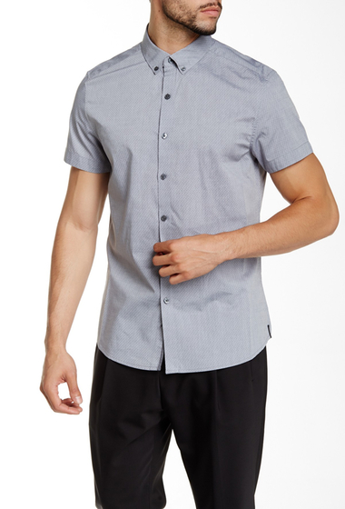 Imbracaminte Barbati Kenneth Cole New York Dobby Dot Short Sleeve Shirt Ash Grey Com