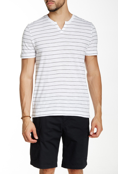 Imbracaminte Barbati Kenneth Cole New York Striped Henley Tee White