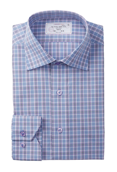Imbracaminte Barbati Lorenzo Uomo Long Sleeve Trim Fit No Wrinkle Medium Plaid Dress Shirt LAVENDER
