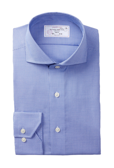 Imbracaminte Barbati Lorenzo Uomo Long Sleeve Trim Fit No Wrinkle Houndstooth Dress Shirt LIGHT BLUE