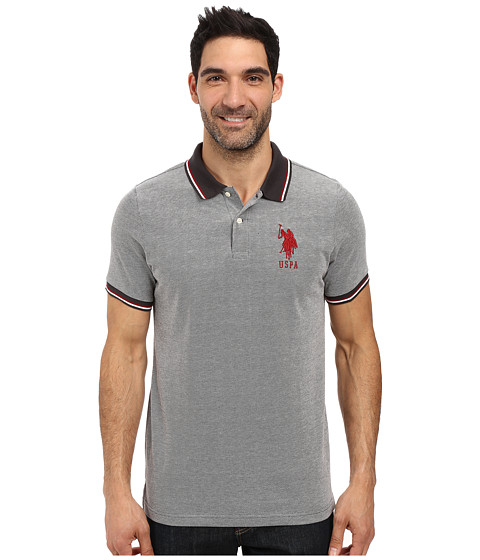 Imbracaminte Barbati US Polo Assn Color Tipped Collar and Sleeve Cuff Pique Polo Shirt Campfire Coal