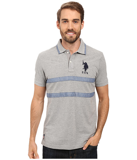 Imbracaminte Barbati US Polo Assn Quilted Pique and Chambray Striped Polo Shirt Heather Grey