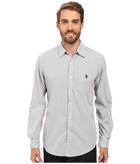Imbracaminte Barbati US Polo Assn Long Sleeve Slim Fit Dobby Stripe Sport Shirt Mid Grey