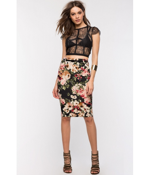 Imbracaminte Femei CheapChic Floral Geo Pencil Skirt WhiteBlack Prt