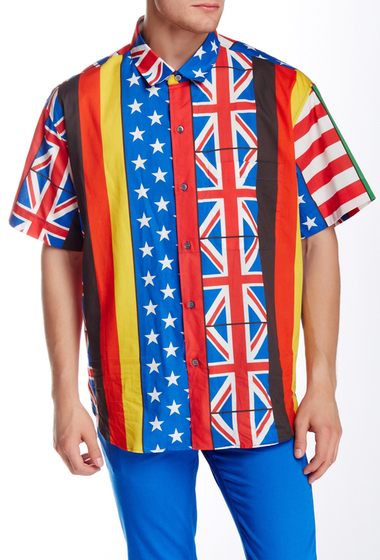 Imbracaminte Barbati Moschino Patchwork Flag Oversize Fit Short Sleeve Shirt Multi