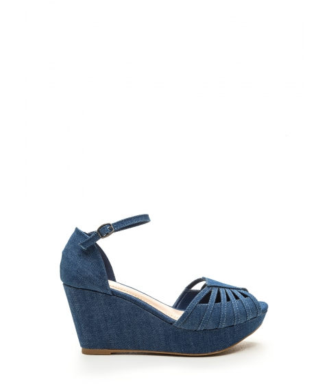 Incaltaminte Femei CheapChic First Class Choice Denim Wedges Blue