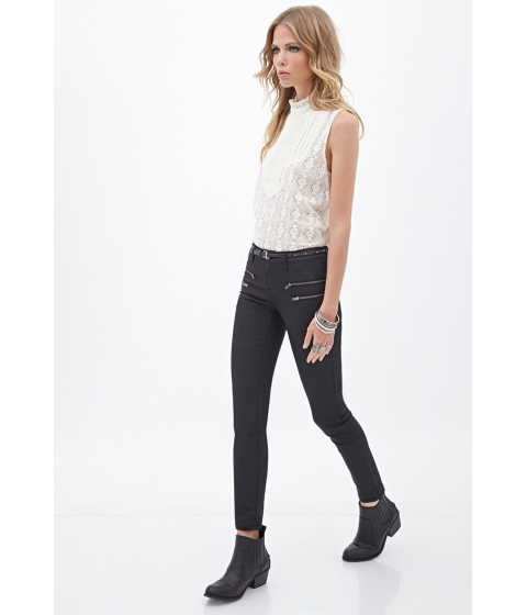 Imbracaminte Femei Forever21 Mid-Rise - Zippered Skinny Jeans Black