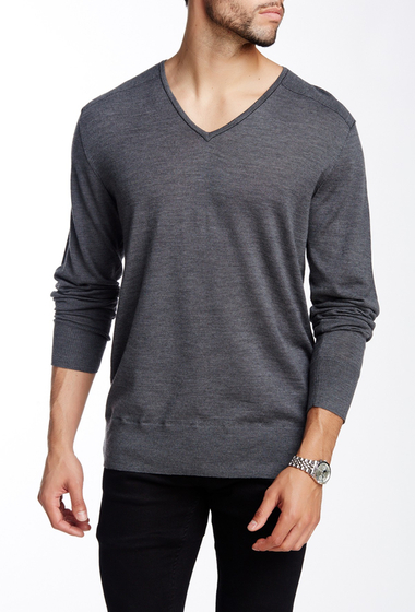 Imbracaminte Barbati John Varvatos Collection V-Neck Wool Sweater NICKEL GRE