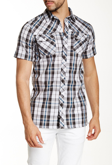 Imbracaminte Barbati Burnside Short Sleeve Woven Plaid Shirt WHITE