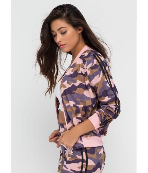 Imbracaminte Femei CheapChic Camo Queen Zip-up Bomber Jacket Pink