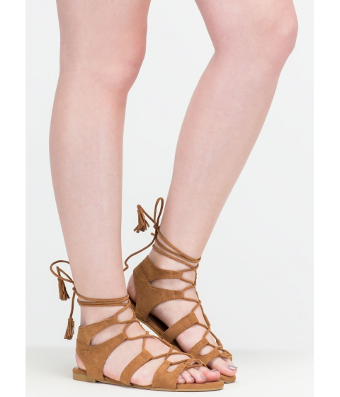 Incaltaminte Femei CheapChic Festival Life Faux Suede Caged Sandals Natural