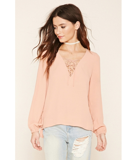 Imbracaminte Femei Forever21 High-Low Lace-Up Blouse Mauve